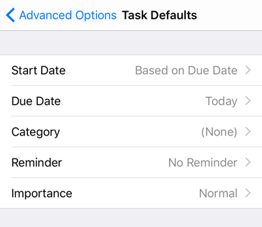 Task defaults screenshot