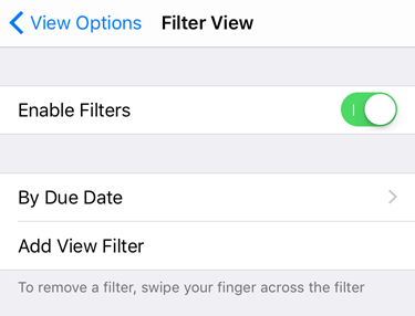 Screenshot of the view filters